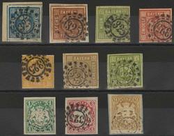 Gestempelt Briefstück 325 - MÜNCHEN, 10 Verschiedene Werte, MiNr. 2 II Linke Obere Bogenecke Mit Allen Vier Schnittlinie - Bayern