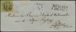 Brief 325 - MÜNCHEN, Breitrandige 9 Kr, Drei Schnittlinien, Unten Rechts Kleiner Eckbug, Auf Postvereins-Damenbriefkuver - Bayern