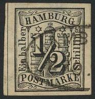 Gestempelt ½ S Schwarz, Farbfrisches, Allseits Breitrandiges Exemplar Mit Vollen Zwischenlinien Links Und Rechts (!) Mit - Hamburg