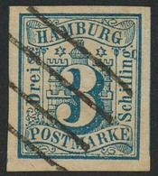Gestempelt 3 S Preußischblau, Farbfrisches, Allseits Breitrandiges, Vom Unterrand Stammendes Luxusstück Mit Sauber Aufge - Hamburg