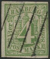 Gestempelt 4 S Bläulichgrün, Farbfrisches, Voll- Bis Breitrandiges Exemplar Mit Zentrisch Klar Aufgesetztem Vierstrichst - Hamburg
