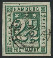 Gestempelt 2½ S Dunkelopalgrün, Farbfrisches, Allseits Breitrandiges Luxusstück Mit Dreiseitig Zwischenlinien (!) Mit Ze - Hamburg