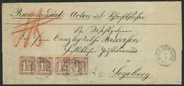 Brief 1¼ S Braunpurpur, Waagerechter Viererstreifen Als Portogerechte Frankatur Auf R-Brief Ab St. P.A. HAMBURG /7 (1865 - Hamburg