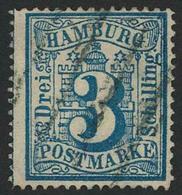 Gestempelt 3 S Preußischblau, Farbfrisches, Vollzähniges Kabinettstück Mit Sauber Aufgesetztem Vierstrichstempel, Fotoku - Hamburg