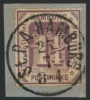 Briefstück 1¼ S Braunviolett, Farbfrisch Auf Luxus-Briefstück Mit Herrlich Klarem K1 St. P. A. HAMBURG, Fotokurzbefund L - Hamburg