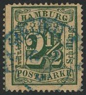Gestempelt 2½ S Dunkelopalgrün, Farbfrisches, Vollzähniges Kabinettstück Mit Blauem K2 HAMBURG ST.P. 16 9 67, Doppelt Si - Hamburg