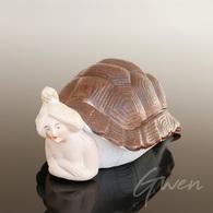 Sujet Figurine Art Deco Ancienne Biscuit Boite Femme Tortue Ours Miniature Allemagne Curiosa - Unclassified