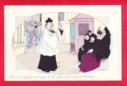 Illust-1590A34  X. SAGER, La Première Qui Fera Encore Pipi Dans Le Confessionnal,  Curé, Satirique, Cpa BE - Sager, Xavier