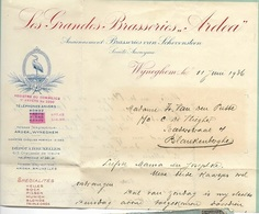 DON D/  WIJNEGEM  OMSLAG EN DEEL VAN BRIEF VAN GRANDES BRASSERIES ARDEA  1936 - Unclassified
