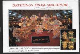 SINGAPORE - PAGODA E LANTERNE PER FESTIVAL D'AUTUNNO - VIAGGIATA 1992 - FORMATO GRANDE 17X12 - Singapore