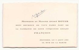 Faire-part De Naissance Du 7 Août 1948 à Poitiers - Birth & Baptism