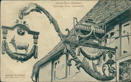 AK Bad Herrenalb, Hotel Post (Ochsen), Antikes Wirtschild, O 1909, Briefmarke Entfernt, Ecken Bestoßen, Eckknick (31014) - Bad Herrenalb