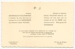 Faire-part De Mariage Du 19 Mars 1935 à Wasquehal - Boda