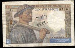 10 FRANCS MINEUR 9.10.1941 F:8/2 - 1871-1952 Anciens Francs Circulés Au XXème