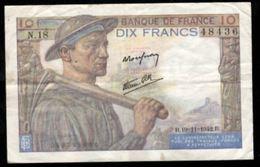10 FRANCS MINEUR 19.11.1942 F:8/5 - 1871-1952 Anciens Francs Circulés Au XXème