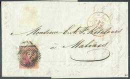 N°5 - Médaillon 40 Centimes Carmin-rose, Bien Margé, Obl. P.45 Sur Lettre De GAND Le 21 Novembre 1850 Vers STATION De MA - 1849-1850 Médaillons (3/5)
