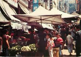 China - Chine - Hong Kong - An Open Air Market In The Wester District - Semi Moderne Grand Format - 2 Scans - état - Chine (Hong Kong)