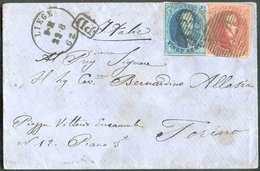 N°11/12 - Médaillon 20 Centimes (touché) Et 40 Centimes (TB Margé), Obl. P.73 Sur Enveloppe De LIEGE Le 22-8-1862 Vers T - 1858-1862 Médaillons (9/12)