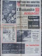 Journal L'Humanité Dimanche (12 Juin 1960) Algérie - Turqui - Bataille Laïque - Vaccinations - Nazim Hikmet - 1950 à Nos Jours