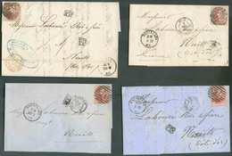 Lot De 4 Lettres Affranchies De Médaillons 40 Centimes (2x12A Et 2x16) à Destination De Nuits (Fr.). - B/TB -  13052 - 1849-1865 Medallions (Other)