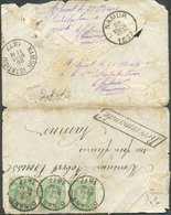 N°30(3) - 10 Centimes Verts En Bande De Trois, Obl. Sc DINANT Sur Enveloppe RECOMMANDE Du 28 Mars 1877 Vers Namur + Manu - 1869-1883 Léopold II