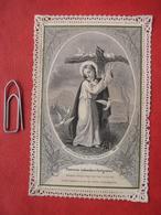Heiligenbild: Stahlstich? Pauves Colombes Fatiguees / Kreuz Jesu / Bouasse Lebel Paris - Andachtsbilder