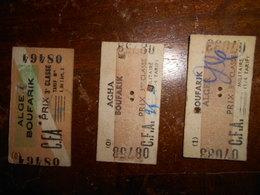 3 Tickets Train Militaire Années 40 Algerie Alger Boufarik Agha CFA  Sncf - Transportation Tickets