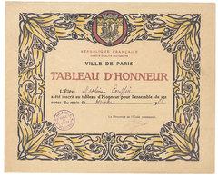 Ville De Paris, Tableau D'Honneur ( Grand Format ) - Rue Littré, école De Filles - Diplômes & Bulletins Scolaires