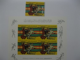 Libya  1979 World Cup Football 1978  And Olympics Games Moscow  SC#845 And Block Of 4 Imperf - 1978 – Argentine