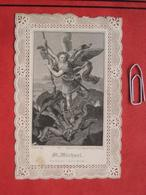 Heilige: Stahlstich St. Michael - San Miguel - Saint Michel / Primiz Graz, Stich Mayer Nürnberg - Andachtsbilder