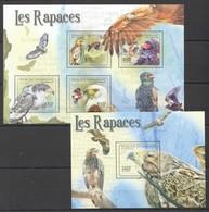 U464 2011 CENTRAFRICAINE FAUNA BIRDS LES RAPACES 1KB+1BL MNH - Adler & Greifvögel