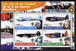 55161 Burundi 2004 Aircraft Of World War II #01 (aviation Ww2 Churchill Scouts De Gaulle Ww1 Militaria) Perf Sheetlet - Burundi