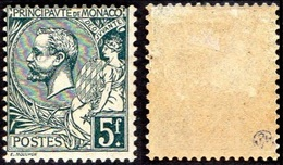 Monaco - N°   47 * (Deuxième Choix) Prince Albert Premier - Le 5 F Vert-gris - Neufs