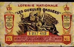 """BILLET DE LOTERIE NATIONALE  """"LES GEULES CASSEES""""..1939 - Biglietti Della Lotteria"""