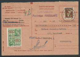 Ontvangkaart Gefrankeerd Met Leopold III Open Kraag 70C  + Takszegel - Documents De La Poste