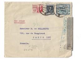 CENSURE MILITAIRE REPUBLIQUE ESPAGNOLE De BARCELONE Pour PARIS N° 562 563 Et PA N° 95 - 1931-50 Storia Postale