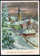 B4194 - Glückwunschkarte Weihnachten - Winterlandschaft - DDR 1958 - Lederbogen - Christmas