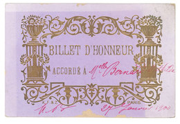 Billet D' Honneur - élève, école, 1900 - Diplômes & Bulletins Scolaires