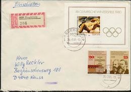 DDR 1975 1980, Einschreiben Brief Von Magdeburg Nach Neuss Mit Michel Nr. 2051, 2052, Block 57, 2 Scans, Tauschsendung - [6] Repubblica Democratica