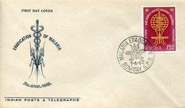 36737 India  Bombay Fdc 1962  World United Against Malaria, - Insectes