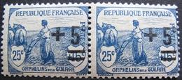 1815 - AU PROFIT DES ORPHELINS DE LA GUERRE - N°165 (PAIRE) TIMBRES NEUFS** - France