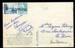 """Griffe Linéaire """" Havre Principale """" Sur Vignette Et Timbre Sur Carte Tour Eiffel - Marcophilie (Lettres)"""