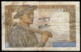 10 FRANCS MINEUR 13.1.1944 F:8/10 - 1871-1952 Anciens Francs Circulés Au XXème