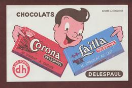BUVARD - CHOCOLATS  DELESPAUL - Corona à Croquer & Laitta Au Lait  - 2 Scannes. - Cocoa & Chocolat