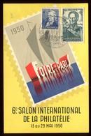 Carte Du 6 ème Salon Internationale De Philatélie En 1950 - Marcophilie (Lettres)