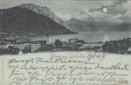 Gruss Aus GMUNDEN (OÖ) - Mondscheinlitho, Gel.1898, Gute Erhaltung - Gmunden