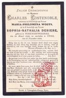 DP Charles Costenoble ° Westnieuwkerke Nieuwkerke Heuvelland 1842 † Ieper 1892 X M. Woets Xx S. Desiere - Images Religieuses