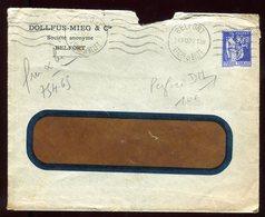 Type Paix Perforé DM Sur Enveloppe Commerciale De Belfort En 1939 - Perforés