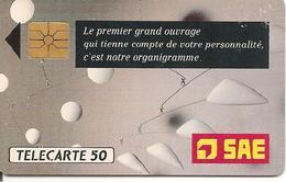 CARTE=PUCE-PRIVEE-D-50U-D400-GemA-1990-SAE-UTILISE R°Laqué-TBE-RARE - France