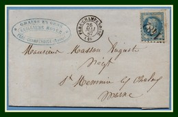LAC GC 1482  / N° 29 Fere Champenoise (49) Type 15 1867 Guillaume Royer Grains En Gros - Postmark Collection (Covers)